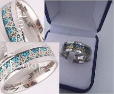 Titanium Steel Masonic Symbol Men Carbon Fiber Inlay/Gift Box Sizes 8,9,10,11