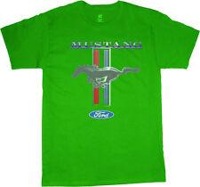 Classic Ford Mustang tri-bar pony design men's size green tee shirt t-shirt