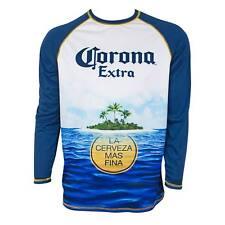 Corona Extra Long Sleeve Men's Rash Guard Tee Shirt Blue