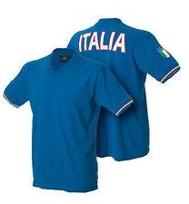 EUROPEI CALCIO T-SHIRT manica corta ITALIA maglietta AZZURRO TRICOLORE stadio