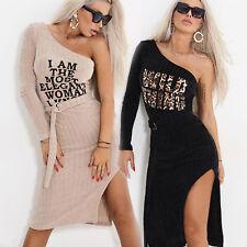 By Alina Damenkleid Longshirt Tunika One-Shoulder Kleid Leo Pulloverkleid XS S M