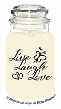Live Laugh Love Quote - Vinyl Sticker for candle/jar - CHEAP STICKER/LABEL