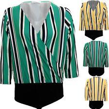 Womens Plunge Wrap V Neck 3/4 Sleeve Stretchy Stripe Top Leotard Bodysuit