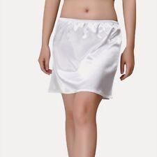 Women Satin Short half Slip Mini Under Dress Skirt Pleated Retro Elastic Waist