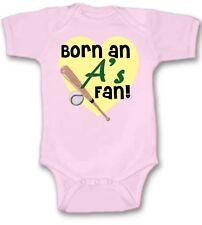 Born an Oakland A's Baseball Fan Baby Bodysuit Cute New Gift Choose Size & Color