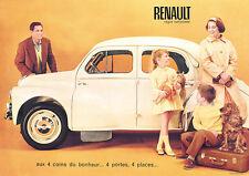 Renault 4CV blanc classic car affiches photo A1