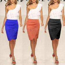 S M L XL Slim Womens Knee Length Step Skirt Fit Summer OL Suit Pencil Skirts - B