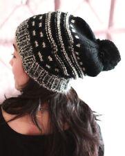 POM-POM Men's Women's Baggy Knit Beanie Oversize Slouchy Hat Ski Cap Stripes