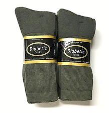 3 or 6 Pair Non-Binding Top DIABETIC Green Crew Socks Plus Size13-15, USA