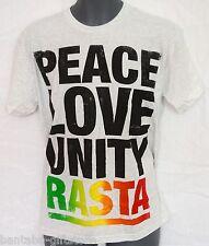 T-SHIRT _ peace love and unity Rasta _ Grigio _ Grey T-SHIRT _ regggae