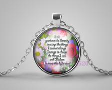 Serenity Prayer Photo Cabochon Glass Tibet Silver Pendant Chain Necklace#EB30