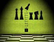 Wandtattoo Schach Schachspruch Wandaufkleber Wandsticker Schachfiguren uss331