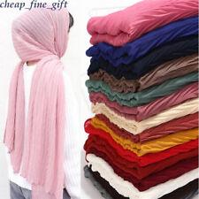 Muslim Chiffon Hijab Wrinkle Scarf Pleat Shawl Women Crinkle Wrap Scarves Shayla