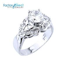 Women's Ladies Elegant Sterling Silver CZ Engagement Ring