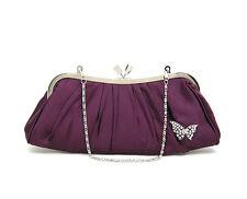 UK Satin Diamonate Butterfly Evening Prom Clutch Wedding Bridal Bag purse 16b