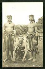 3 Sea Dayak Warriors rppc Sword Borneo Malaysia 20s