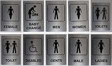 Silver Aluminium Toilet Sign 100x150mm Ladies, Women, Baby Change, Men, Gents