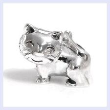 STR Silver Lovely Kitty Kitten Cat Cute Smilling Bead f/ European Charm Bracelet