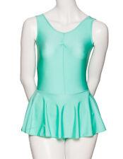 DONNE RAGAZZE verde menta Lycra Body da ballo e balletto con gonna abito kdr005
