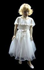 Mädchen Kleid festlich Blumenkind Taufe Hochzeit A-Linie Weiß Größe 122-164
