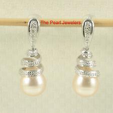 14k White Gold Sets 6 Sparkling Diamonds; Peach Pearl Dangle Stud Earrings TPJ