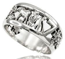 925 Silver Lucky Elephant, Owl, Horse Shoe, 7, Evil Eye, Clover Flower Ring