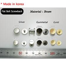 Button Stud Screwback Leather Flat Belt Chicago Screw Multi Color & Size