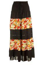 Damen Blumen Maxirock Lang Rock Sommer Stufenrock als Kleid Tragbar Knielang