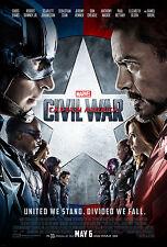 CAPTAIN AMERICA CIVIL WAR MOVIE POSTER FILM A4 A3 ART PRINT CINEMA TEXT