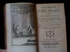 Le Gand Trictrac ou méthode facile Reliure Ex libris 1756 Jeux Science