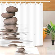72x72'' Zen Spa Stones Bathroom Waterproof Fabric Shower Curtain & Mat 8371