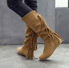 Casual Mid Calf Boots Female 2019 Autumn Flat Heel Tassel Cowboy Boots Suede Sz