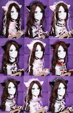 C- Gothic Lolita Maid Katze Ohren Hals Haarband Kopfschmuck Set Cosplay Fasching