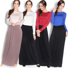 Damen Langarm Maxikleid Herbstkleid Kleid Lang Abend Maxi Kleider, 8239