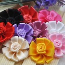 10/20/100 pcs Mix  Satin Ribbon Flowers Bows Craft Sewing Appliques 38mm A310