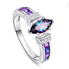 Gorgeous Women 925 Silver Wedding Engagement Rings MysticTopaz Ring Size 6-10