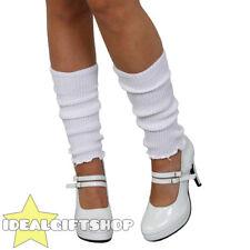 Blanco Señoras década de 1980 calentadores adultos Discoteca Fancy Dress Polainas Tutu