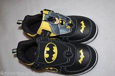 Toddler Boys BATMAN SHOES Black Yellow WEAR 2 WAYS Logo or Hero 9 10 11 12 13