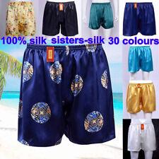 Mens 100% Silk Lounge Shorts 16~40 Momme Silk Underwear Boxers Plus Size