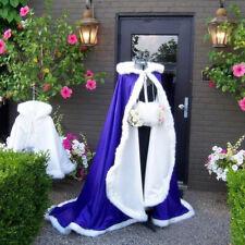 Royal blue Bridal Winter Warm Hood Cloaks Faux Fur Outwear Cape Handmade