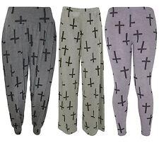 New Womens Plus Size Black Cross Print Leggings Harems Palazzos 12-30