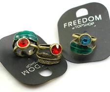 Vintage Art Déco bronce anillo hoja con cristal 3 colores