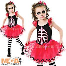 Skeleton Skull Tutu Dress Girls Fancy Dress Kids Childs Halloween Party Costume