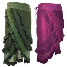 Cotton Lace Gypsy Skirt Caravan Burlesque Vintage Pixie Style Long Calf Tie