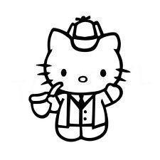 "5"" Hello Kitty Sherlock Vinilo Autoadhesivo Con Ventana De Coche Portátil Tv detective de Baker"