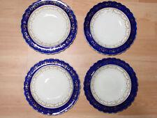 "British Anchor Pottery Co Navy Blue/White Dessert Bowls-4/ 7"" Diameter Vintage"