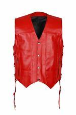 Motorcycle Men`s Biker Vest Genuine Cowhide Leather