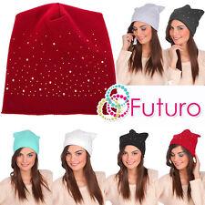 Womens Winter Warm Lightweight Sequined Beanie Hat Skater Cap Slouch Hat Fz50