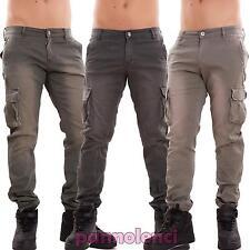 Pantaloni uomo cargo slim cotone cavallo basso tasconi casual polsini nuovi 6801