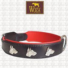Premium Hundehalsband Dobermann Vollleder WOZA Lederhalsband Rindleder Napa 1712